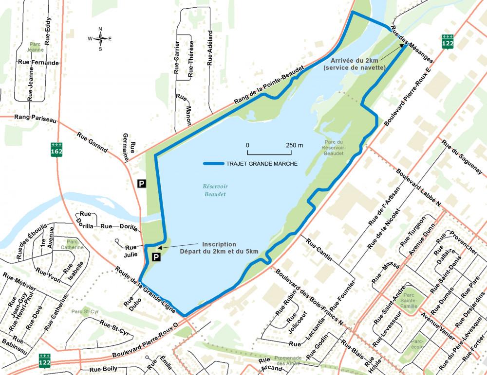 Parcours de la Grande Marche 2017 au réservoir Beaudet de Victoriaville