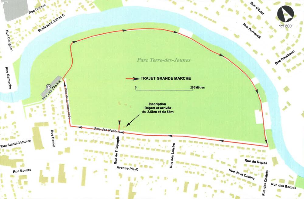 Parcours de la Grande Marche 2019 au parc Terre-des-Jeunes de Victoriaville