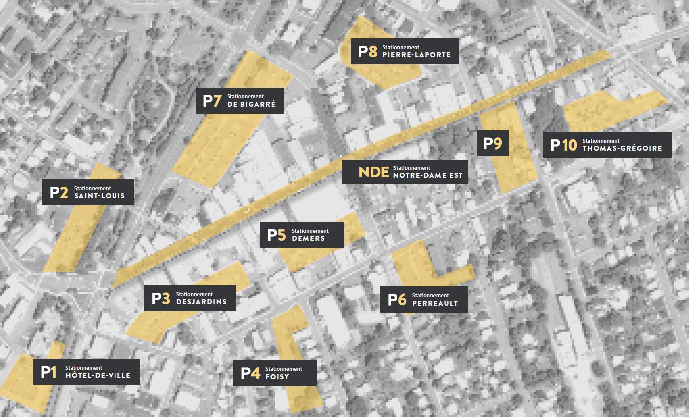 """Des espaces de stationnement sont accessibles partout. Le centre-ville en compte plus de 1300 accessibles à moins de 5 minutes de marche. <a href=""""http://vic.to/cartes/stationnements"""">Voir la carte</a>"""