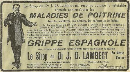 """Le sirop du Dr. J. O. Lambert, vendu à l'époque pour prévenir l'infection à la grippe espagnole <a href=""""https://goo.gl/1B8cP6"""">Source</a>"""