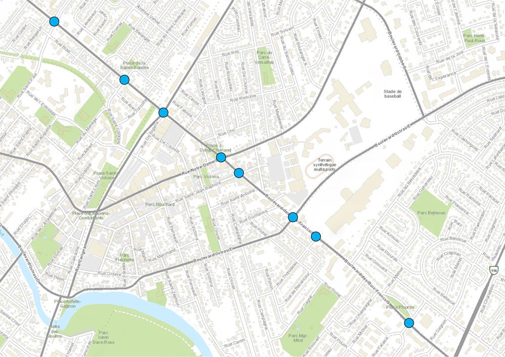 Carte des intersections concernées