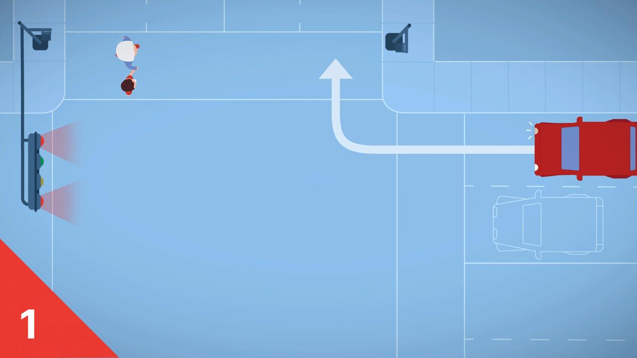 Quoi faire à à un feu piéton partagé? (étape 1)