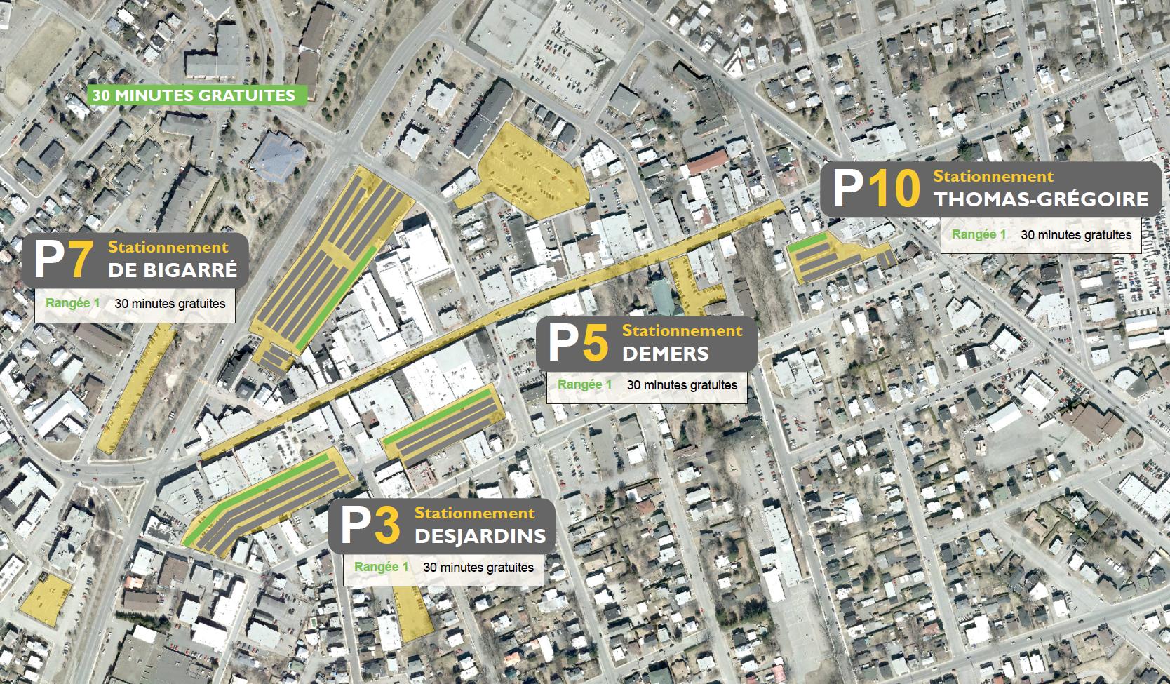 Carte des espaces de stationnement gratuits au centre-ville de Victoriaville