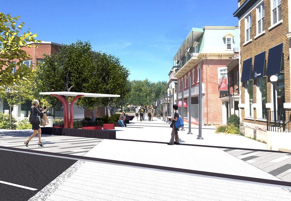 Aperçu de la nouvelle rue de la Gare, piétonne à l'année