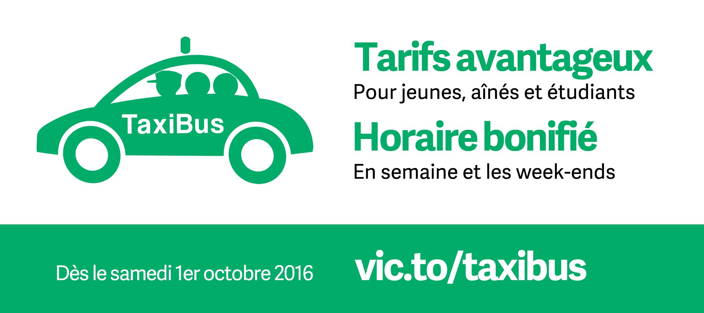 La tarification avantageuse et l'horaire bonifié du service TaxiBus entrent en vigueur le 1er octobre 2016