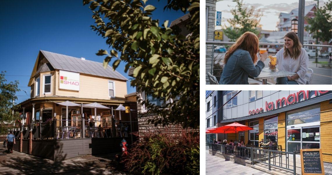 Peu importe votre humeur, vous trouverez la terrasse parfaite! Photo de gauche et droite en haut: Le Shad, crédit: Les Maximes. Photo de droite en bas: La Manne, crédit: Guy Samson photographie.