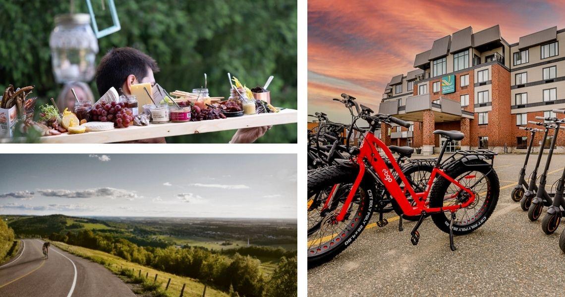 Fromages, Bouffe & Traditions - Véloroute des Appalaches - Vélos électriques - Crédits photos: Guy Samson (gauche haut), Classique des Appalaches (gauche bas), Quality Inn (droite).