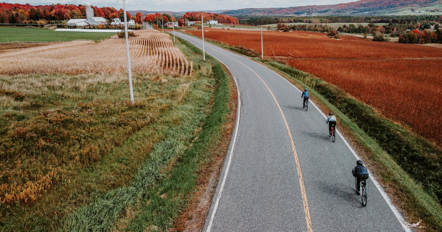 Voici à quoi ressemble l'itinéraire vélo de la Route des Érables quand les couleurs s'enflamment - Crédit photo: Les Maximes