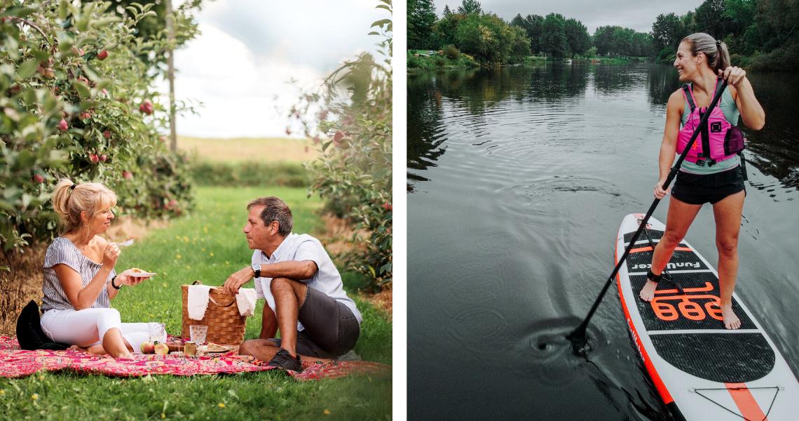 Pique-niquez sous les pommiers ou faites une sortie guidée en planche à pagaie sur la rivière Nicolet! Crédit photo: Les Maximes