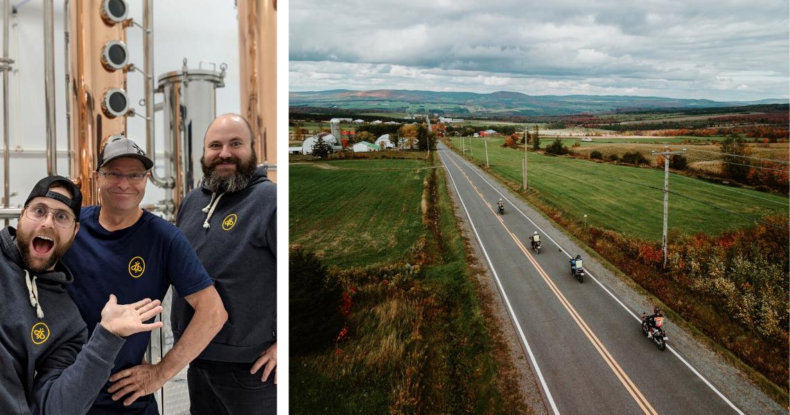 Entrez dans les coulisses d'une distillerie ou faites une excursion guidée en moto-aventure à la découverte de nos fabuleux paysages. Crédit photo (droite): Les Maximes