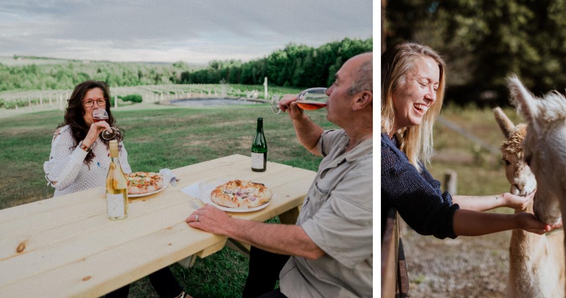 Profitez d'un accord vin et pizza sur la terrasse d'un vignoble ou confectionnez des balles de séchage au pays des alpagas! Crédits photos: Les Maximes