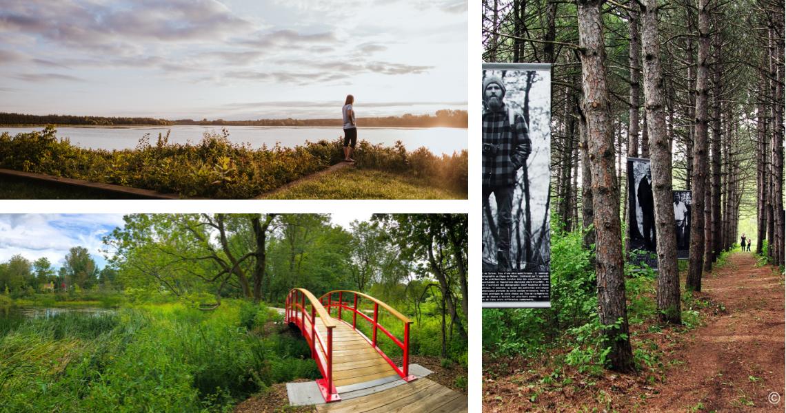 En haut, le Réservoir Beaudet, crédit photo: Les Maximes. En bas, le Parc Terre-des-Jeunes, crédit photo: Guy Samson. À droite, le Parc du Boisé-des-Frères-du-Sacré-Cœur, crédit photo: Guy Samson.