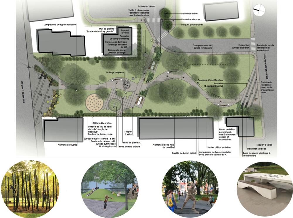 Aperçu des aménagements prévus au parc Victoria de Victoriaville