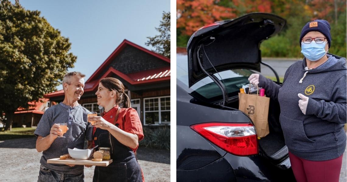 Un service à l'auto unique au Québec! - Crédits photos: Les Maximes (gauche), Miellerie King (droite)