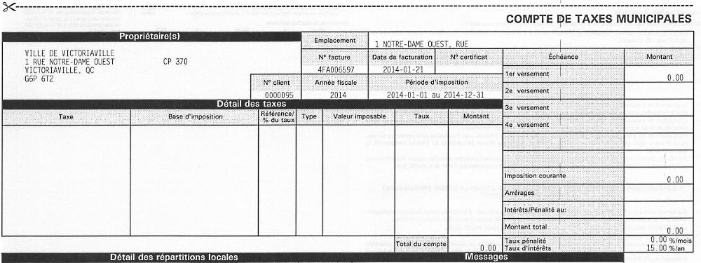 Le compte de taxes 2015 dans votre boîte aux lettres