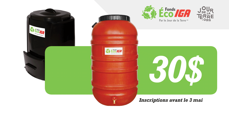 La population de Victoriaville peut courir la chance d'obtenir l'un des 140 barils récupérateurs d'eau de pluie ou composteurs domestiques à moindre coût en participant d'ici le 3 mai prochain au Fonds Éco IGA.