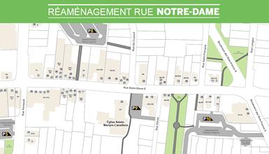 Passages piétonniers, stationnement et supports à vélo au centre-ville durant la phase 2 des travaux