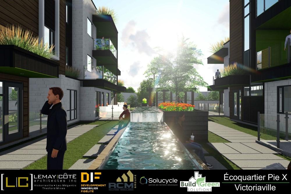 Le conseil municipal de Victoriaville a adopté une résolution qui autorise Maxima Construction inc., promoteur du projet d'écoquartier sur la propriété du 5, rue Boutet, à bâtir des habitations multifamiliales isolées de trois étages, plutôt que deux.