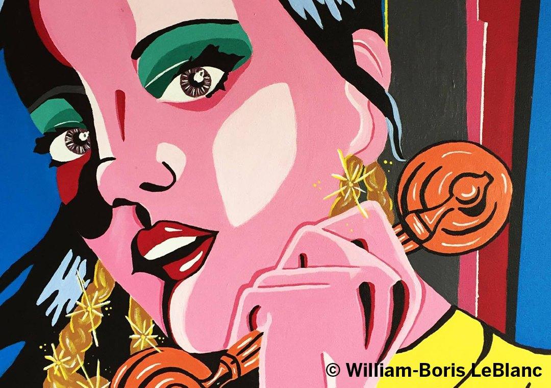 Cette toile de l'artiste peintre William-Boris LeBlanc s'intitule Lily Allen et sera présente lors de l'exposition Leurs couleurs sur mon canevas qui se déroulera à la Place Sainte-Victoire du 17 au 19 août 2017.
