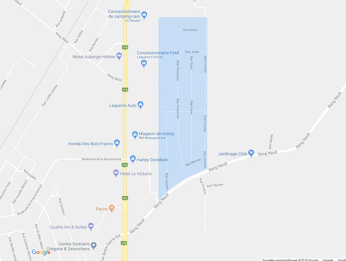 Ajouter des services d'aqueduc et d'égout dans le secteur Cormier de Victoriaville