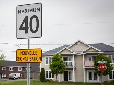La limite de vitesse fixée à 40 km/h de manière permanente dans le secteur Colonial