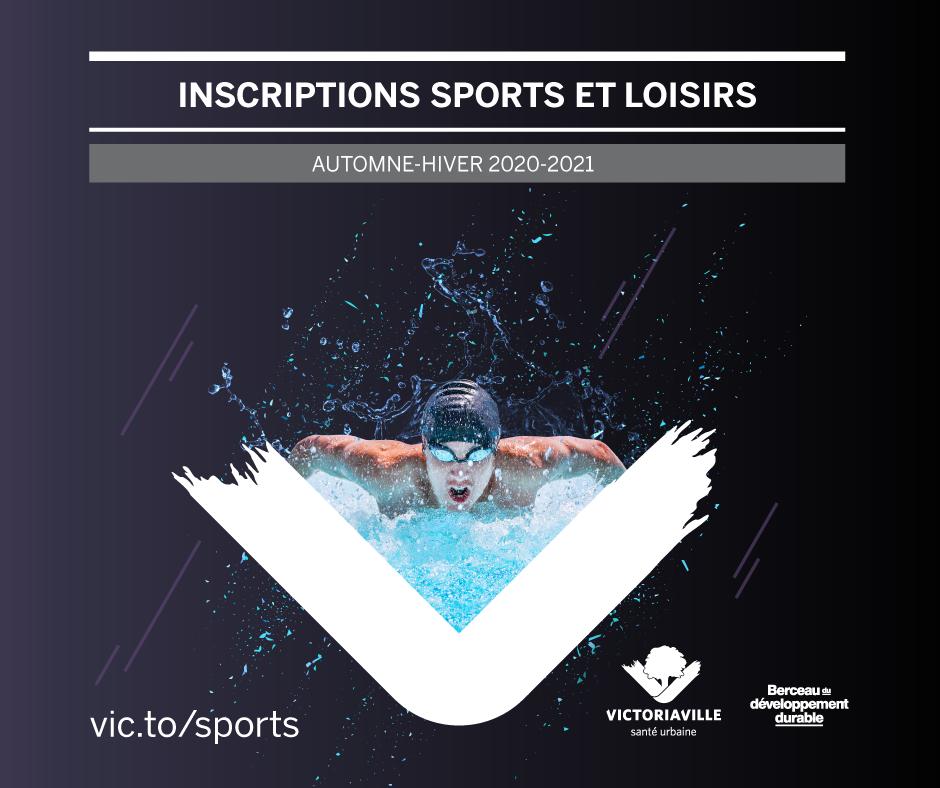 """Une formule adaptée pour les inscriptions aux sports et loisirs automne-hiver 2020-2021. Tous les détails au: <a href=""""http://vic.to/sports"""">vic.to/sports</a>"""
