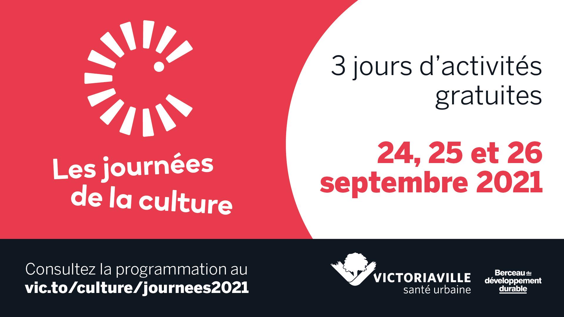Journées de la culture à Victoriaville: un rendez-vous les 24, 25 et 26 septembre 2021